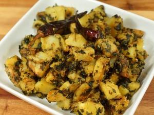 Aloo Methi (Potatoes with Fenugreek Leaves)