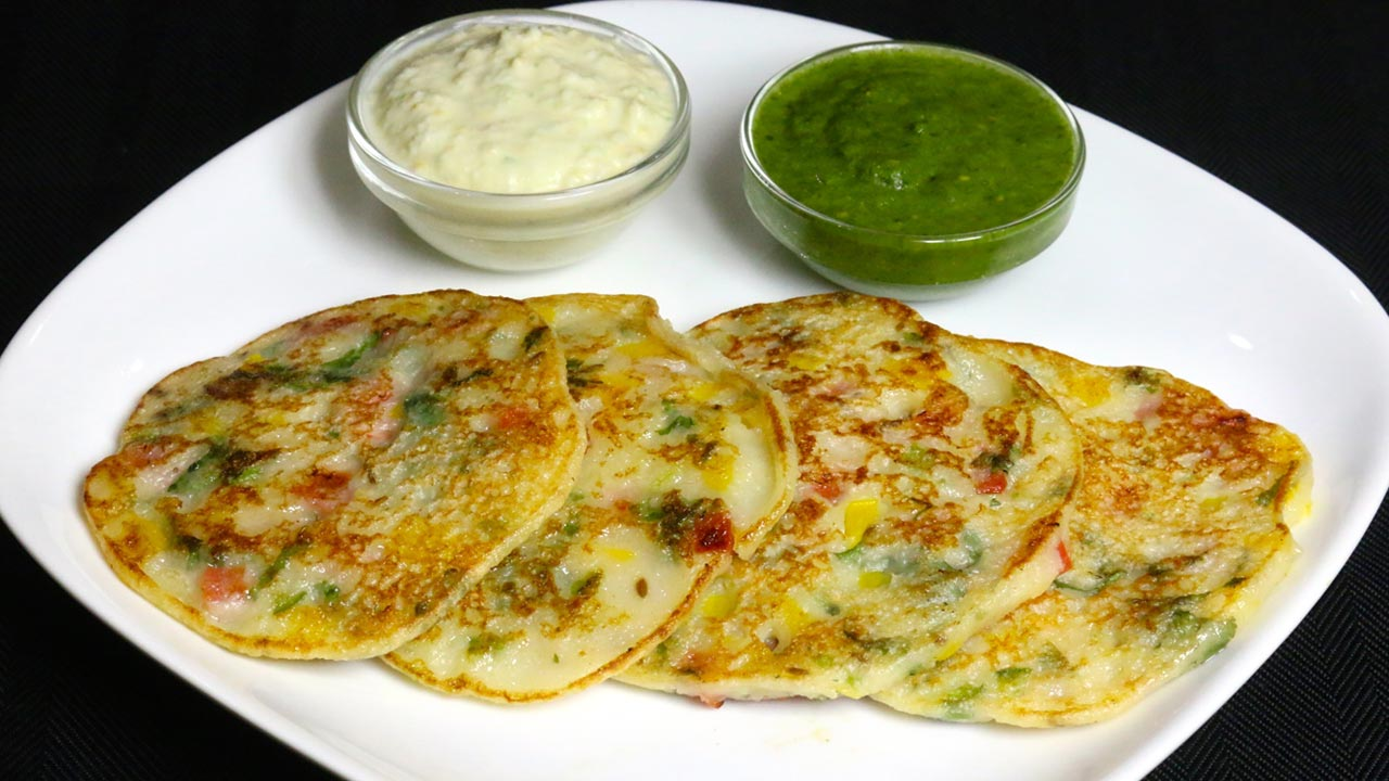 Bread Uttapam South Indian Snack Manjula S Kitchen Indian Vegetarian Recipes