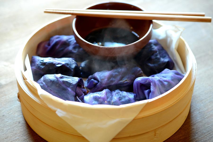 Purple cabbage, eggplant and shiitake mushroom dumplings Recipe by Cecilia