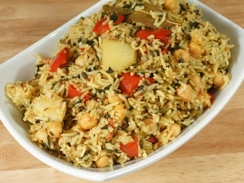 Chickpea Pulav (Chole Biryani) Recipe by Manjula