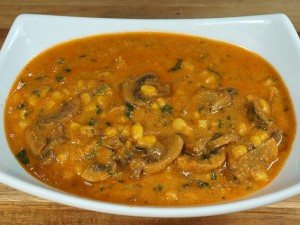 Mushroom Corn Cashew Curry Recipe by Manjula