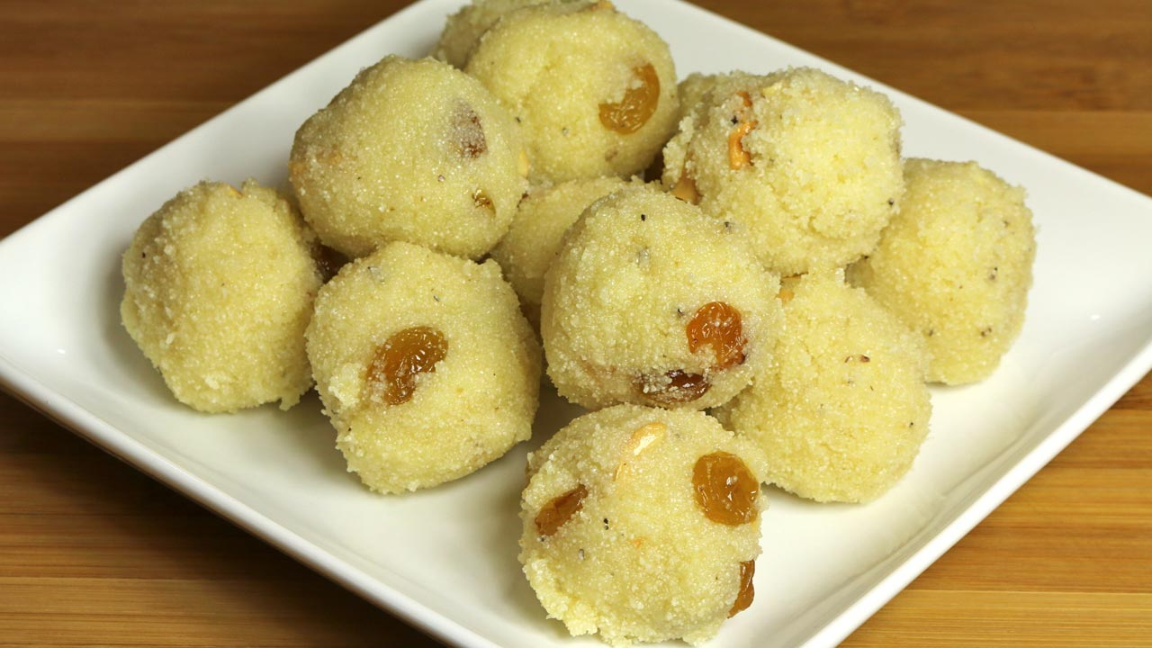 Rava Ladoo Recipe by Manjula