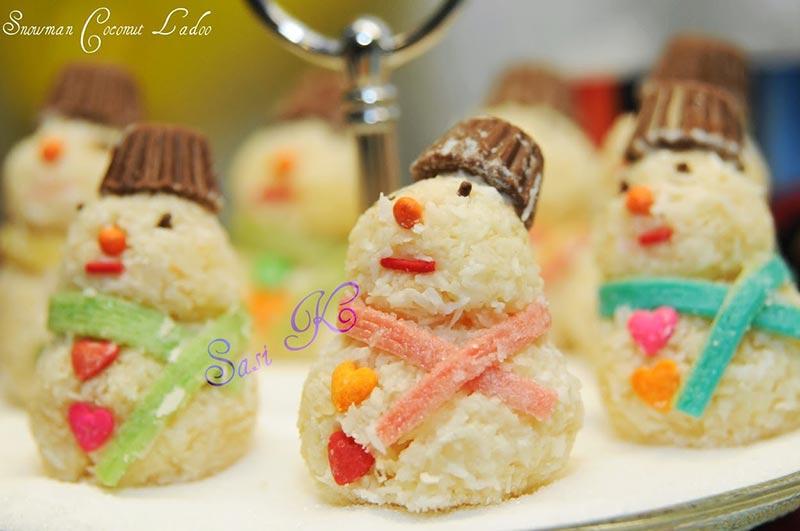 Snowman Coconut Ladoo Recipe by Sasi K