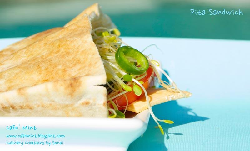 Pita Sandwich with homemade Hummus spread Recipe by Sonal