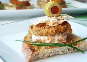 Baked Chickpea Cutlet and Curried Cream Cheese Sandwiches