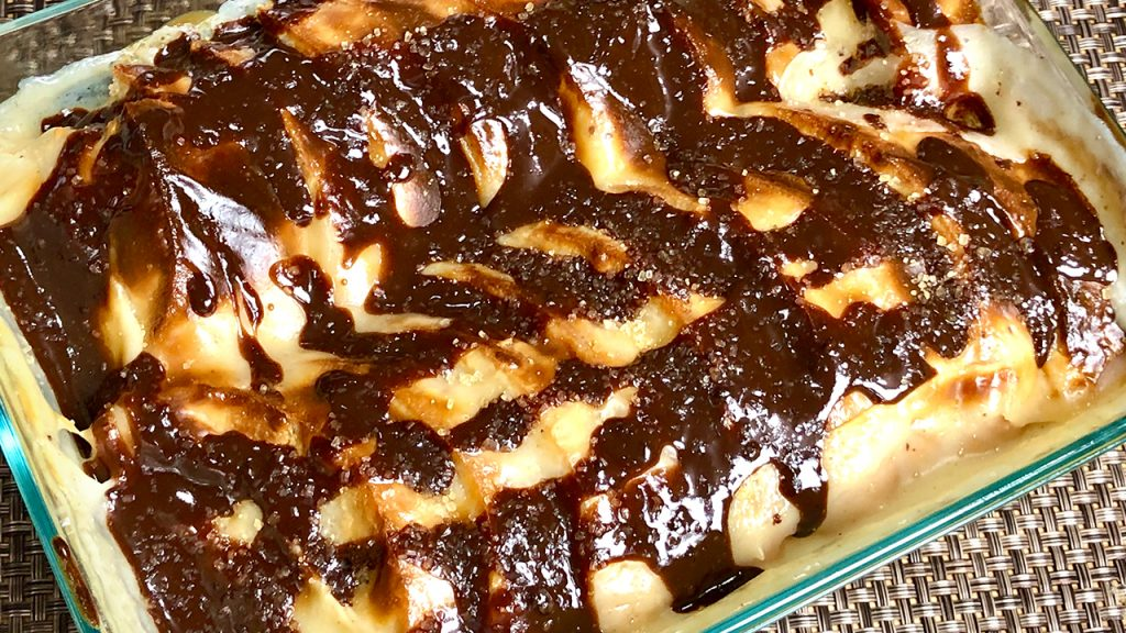Bread Pudding with Chocolate Sauce Recipe by Manjula