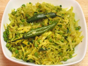 Cabbage With Peas (Bund Gobi And Mater) Recipe by Manjula