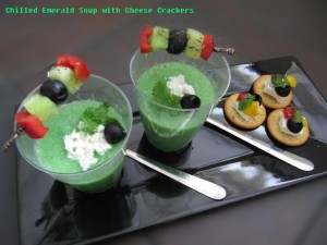 Chilled Emerald Soup with Cheese Crackers