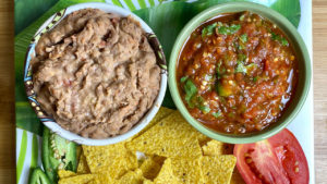 Mexican Refried Beans and Salsa