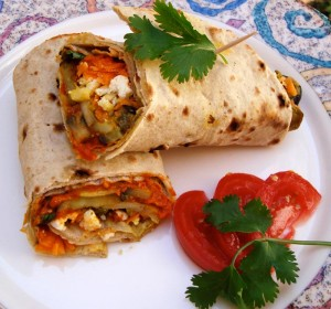 Eggplant and Mushroom Wrap with Roasted Red Pepper and Sun Dried Tomato Chutney